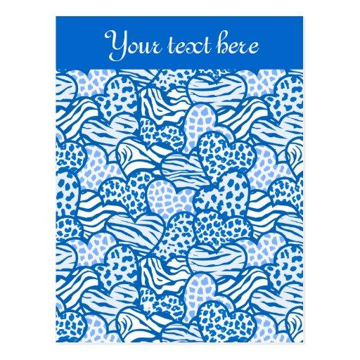 Postal azul del diseño de los corazones de los ani