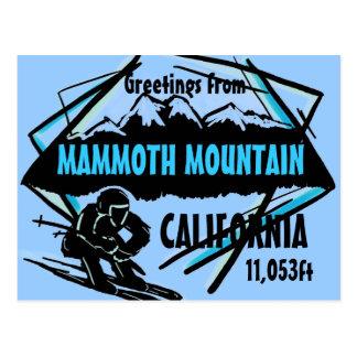 Postal azul del esquí de Mammoth Mountain Californ