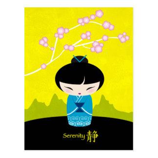 Postal azul del kokeshi