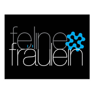 postal azul del logotipo del fräulein felino
