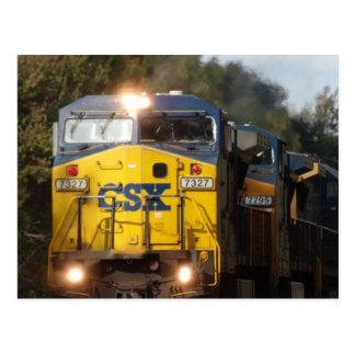 Postal azul del motor del tren de CSX