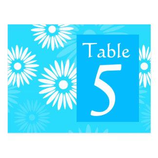 Postal azul del número de la tabla de la flor del