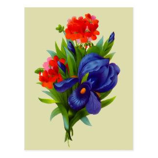 Postal azul del ramo de la flor del iris del vinta