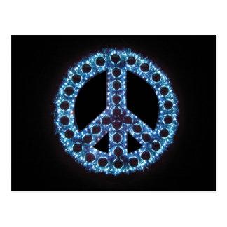 postal azul del signo de la paz