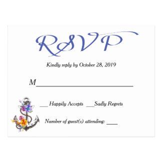 Postal azul floral de RSVP del ancla náutica del