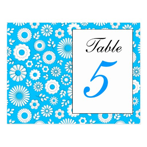 Postal azul floral del número de la tabla del vera