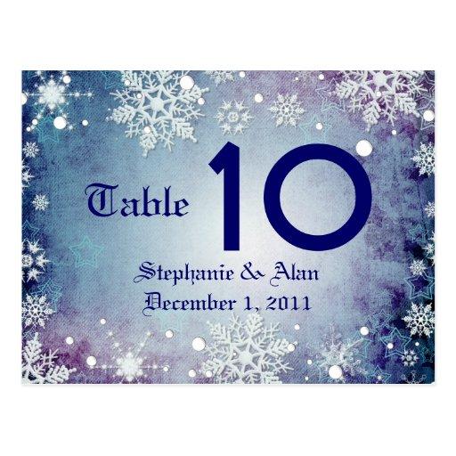 Postal azul hivernal del número de la tabla