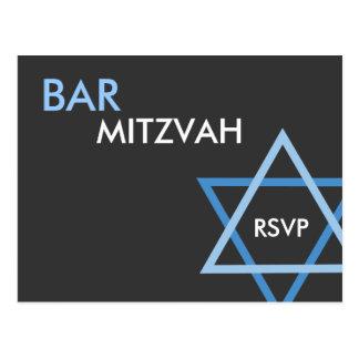 Postal azul moderna de Mitzvah RSVP de la barra