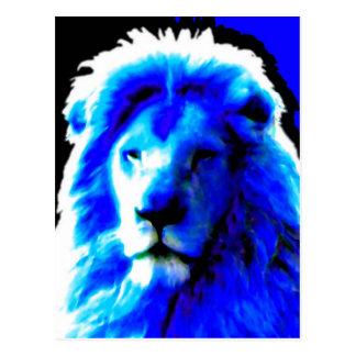Postal azul principal del león