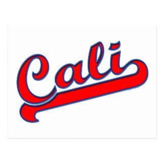 Postal azul roja del logotipo de Cali California