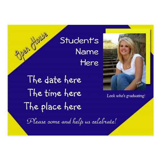 postal azul y amarilla de la graduación de la casa