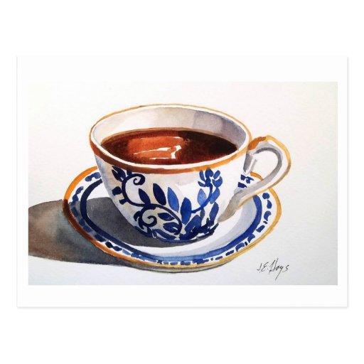 Postal azul y blanca de la taza de té de Delft