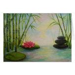 Postal, bambú y piedras, tarjeta de felicitación