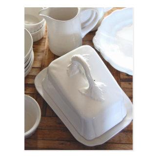 Postal blanca de la porcelana del vintage