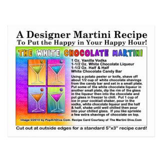Postal blanca de la receta de Martini del chocolat