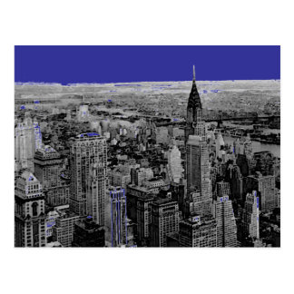 Postal blanca de New York City del negro azul