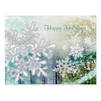 Postal blanca de plata de los copos de nieve