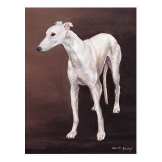 Postal blanca del arte del perro del galgo