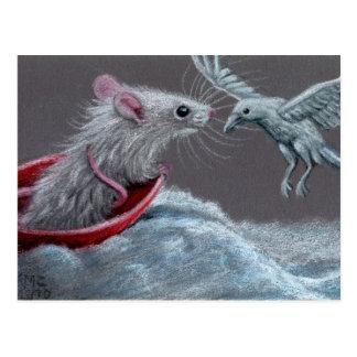 Postal blanca del cuervo de la rata