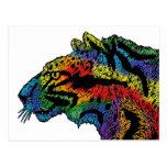 Postal (blanca) del leopardo del arco iris (horizo