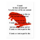 Postal blanca roja del himno del castor del día de
