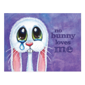 Postal blanca sola triste del conejo