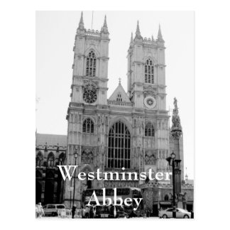 Postal blanco y negro de la abadía de Westminster