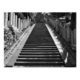 Postal blanco y negro de la escalera