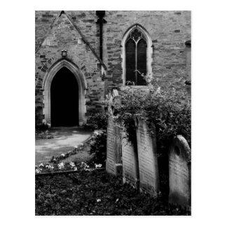 Postal blanco y negro de la iglesia