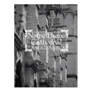 Postal blanco y negro Notre Dame del viaje de Parí