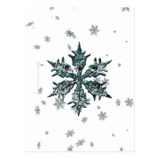 Postal brillante del copo de nieve