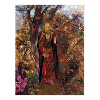Postal:  Buda que camina entre las flores Tarjeta Postal