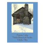 """postal, """"cabina pionera rústica en nieve """""""