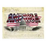 Postal capital de la bandera americana del edifici