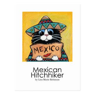 Postal caprichosa mexicana del arte del gato del a