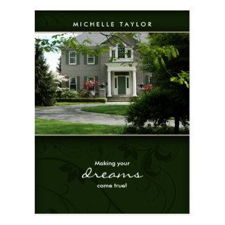 Postal casera verde de la casa de las propiedades