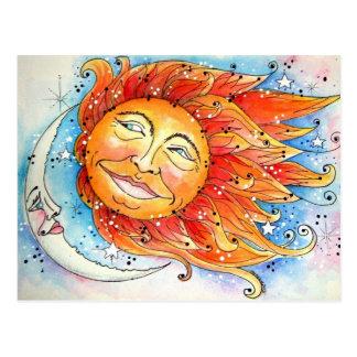 Postal celestial de Sun y de la luna