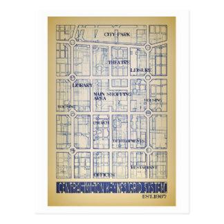 Postal central del mapa de la rejilla de Milton Ke
