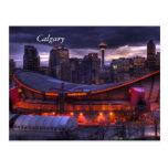 Postal céntrica de la puesta del sol de Calgary