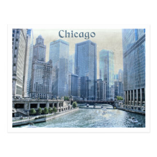 Postal céntrica envejecida apenada de Chicago