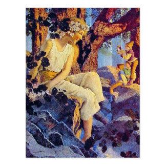 Postal:  Chica con los duendes - Maxfield Parrish