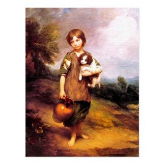 Postal: Chica de la cabaña con el perro y la jarra