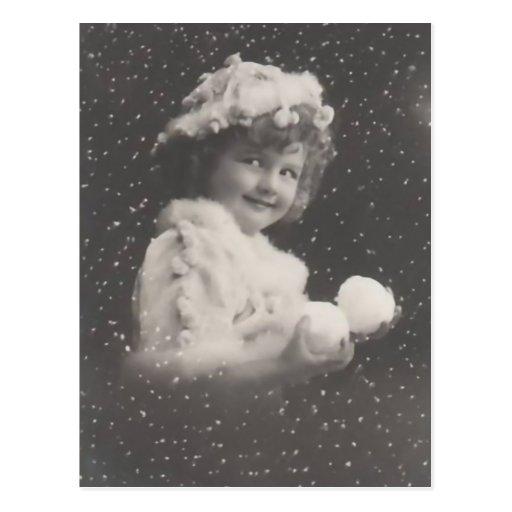 Postal-chica del navidad del vintage con las bolas postal
