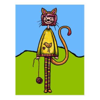 Postal, chica lindo en traje del gato postales