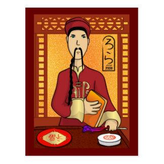 Postal china de dios de la cocina