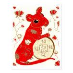 Postal china de la astrología de la rata