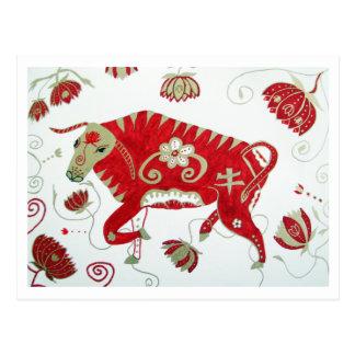 Postal china de la astrología del buey