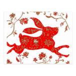 Postal china de la astrología del conejo