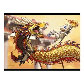 Postal china del Año Nuevo de Dragonbros