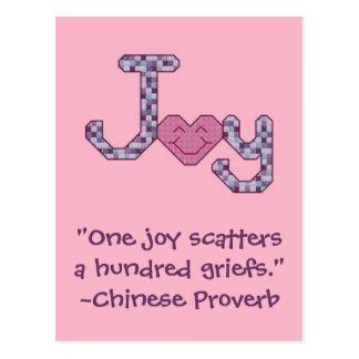 Postal china del proverbio de la alegría